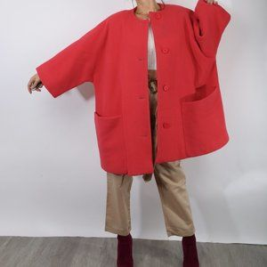 Vintage Calvin Klein Red Oversized Midi Coat
